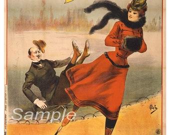 Vintage Bicyclette Skating French Advertising Poster Print
