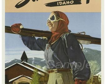 Vintage Sun Vally USA Skiing Ski Poster Print