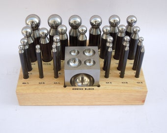 PARUU® 25 Pc jeweler Dapping Set doming block punch set with wooden stand ST415