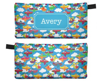 Personalized Pencil Case, Boys Pencil Case, Personalized Airplane Pencil Bag, Personalized Zipper Pouch, Boys Stocking Stuffer 0252