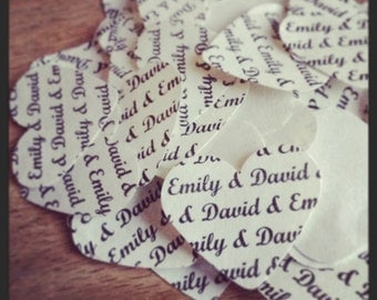 150 personalised wedding table confetti hearts bride and groom name shabby chic vintage rustic wedding reception