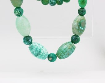 30% OFF Beaded Necklace, Agate Necklace, Green Agate Necklace, Gemstone Jewelry, Gemstone Necklace