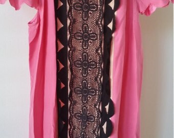 Pink and Black textured fashion dress