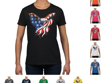 American Eagle US Flag Patriotic Women's T-shirt