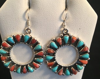 Native American Navajo Turquoise, Spiny Oyster & Sterling Silver Dangle Earrings