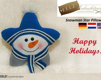 Star Pillow Snowman XL - Crochet Pattern