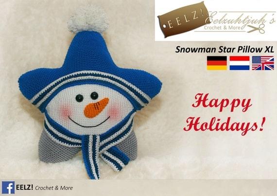 Star Pillow Snowman XL Crochet Pattern by EELZcrochet on Etsy