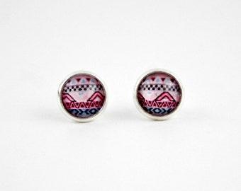 Tiny Aztec Earrings Studs, Glass Earrings, Circle Earrings, Aztec Earrings, Small Silver Circle Studs, Bridesmaid, Gift, Wedding