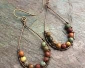 Jasper gemstone and copper wire wrapped earrings