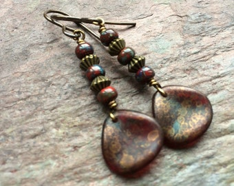 Red and copper petal drop earrings