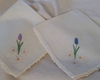 Pair of Vintage Linen Embroidered Napkins
