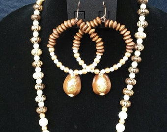 Golden Cowry hooped earrings and necklace set