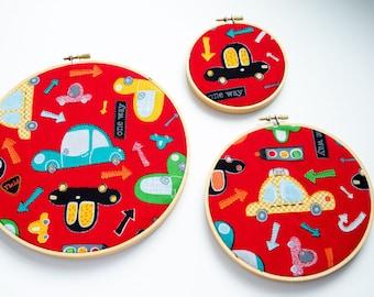 Traffic Hoop Art Set, Cars, Hand Embroidery