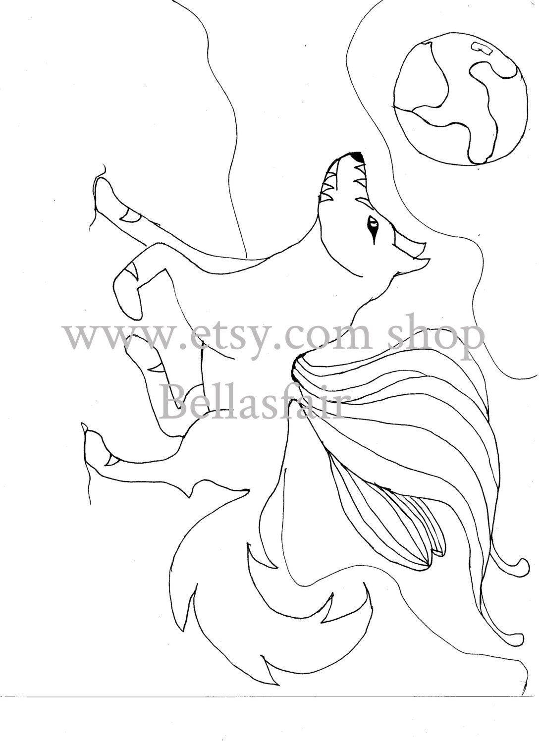 Hand Drawn Mythical winged Wolf coloring coloring page