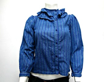 Vintage Blouse - Frilly Blouse - Ruffle Blouse - Pin Stripe - 1980's Vintage - Blue