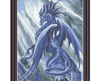 Cross stitch pattern Ice Dragon, Instant download PDF