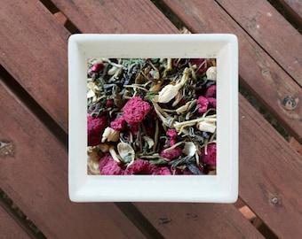 Awakening - Asthma, Anxiety, Organic Floral Tea, Herbal Tea, Green Tea, Honeysuckle, Jasmine, Raspberries, Lemon Balm, Skullcap, Schisandra