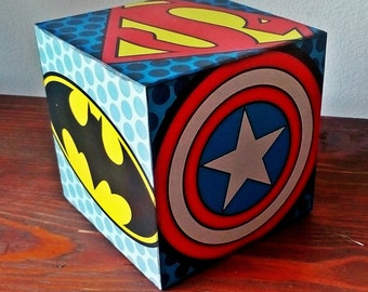 Pop art, Superhero signs, Marvel, DC, Captain America, Wonder Woman, Flash, Batman, Green lantern, Superman, Wooden Block, Decorative Cube