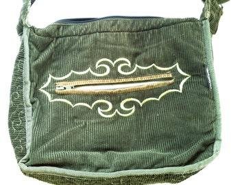 Vintage, Boho, Messenger Bag, Embroidered, Green Corduroy, Shoulder Bag, Zipper pockets, Compartments