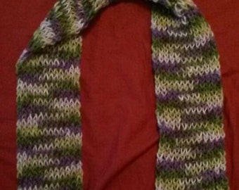 Multicolor Loom-knit Scarf (Purple/Green)