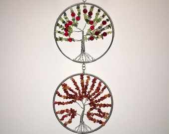 Handmade Wire and Stone Tree of Life pendants - 4 seasons of serenity
