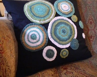 Sage Green - Crochet applique decorated cushion