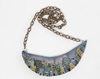 necklace city. twilight. night