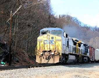 CSX Mixed Freight Train in Highland, New York