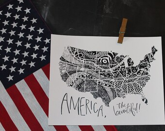 America the Beautiful - Zentangle - Hand Lettered Map Print