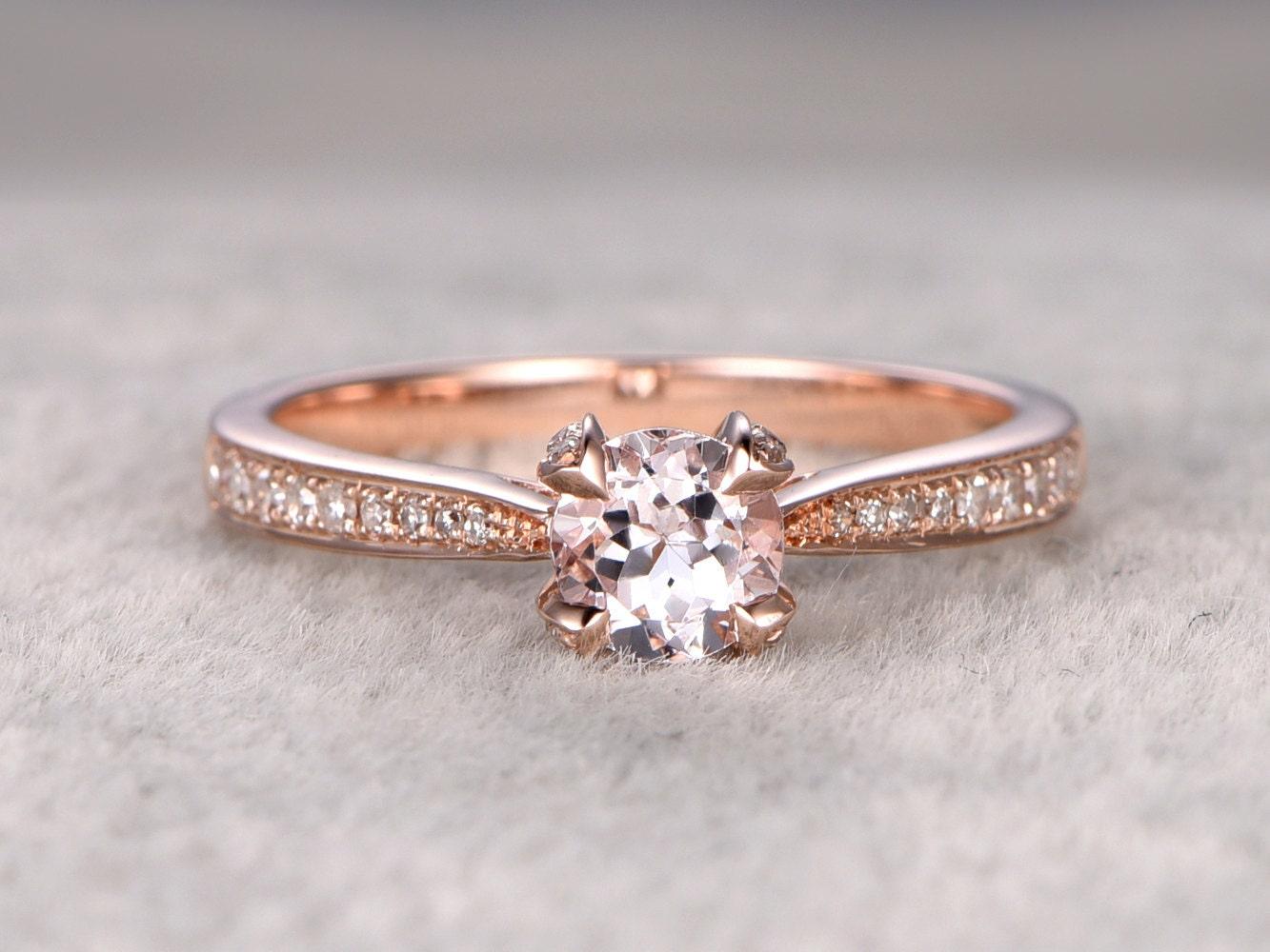 morganite engagement ring rose golddiamond wedding by popring. Black Bedroom Furniture Sets. Home Design Ideas