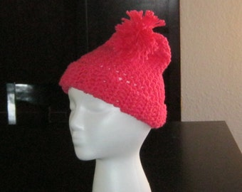 Bright Coral Crochet Beanie for Child