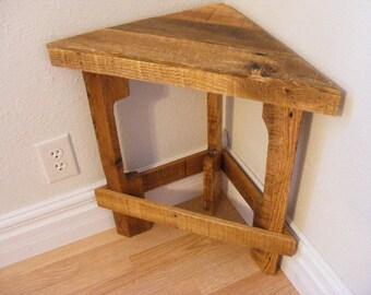 Rustic Corner Table/Reclaimed wood