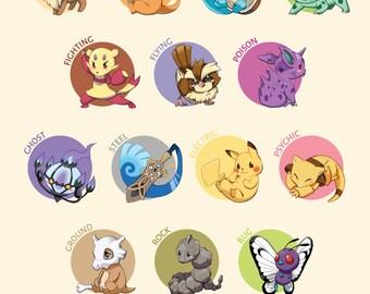 Pokemon Type Chart Illustration | pokemon poster, pokemon print, nintendo poster, video game poster, pokemon art, anime poster, gamer decor
