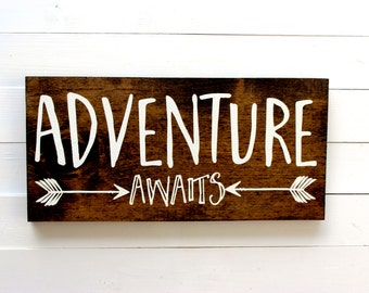 Adventure Awaits | Adventure Awaits Sign | Adventure Awaits Arrow | Follow Your Arrow | Wall Decor | Boho Chic Decor | Gifts Under 25