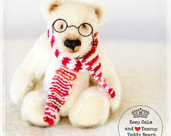 Polar Bear PERCY - Character Bear - Artist OOAK Mohair Handmade - Traditional - White - Christmas - Bear - Red Scarf - Glasses - Cute -