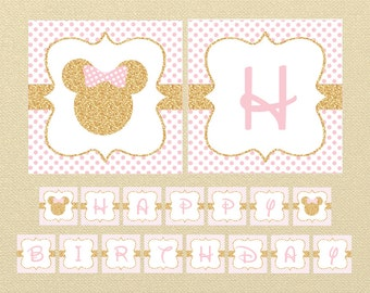 Gold Minnie Mouse Banner, Happy Birthday Banner, Minnie Mouse Birthday, minnie mouse decor, polkadot birthday banner, Pink and Gold, PDF