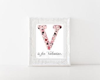 V is for Valentine Print