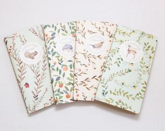 Woodland Creature Kraft Paper Notebook / Sketchbooks | Squirrel, Hedgehog, Bird, Deer
