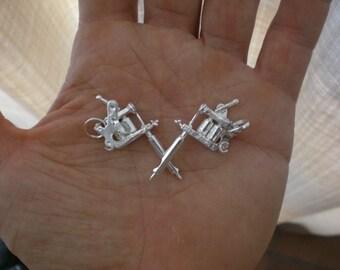 silver tattoo machine pendant