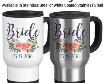Travel Mug, Bride Wedding Bride Mug Beautiful Watercolor Floral Art Flowers Purple, Gift Idea, Stainless Steel 14 oz Coffee Cup