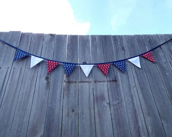 Nautical red, white, and blue double-sided fabric bunting