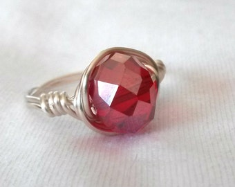 Red Faceted Wire Wrapped Ring