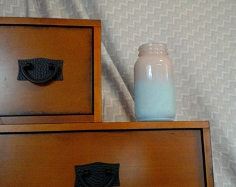 Misty Blue and White Painted Mason Jar Candle Holder