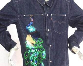 Veste jean Bleue Motif Sequins Paon Taille L Marque Levis