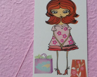 100  FASHION BOUTIQUE ACCESSORIES/Clothing Price Tags Cute Girl In Pink Dress With Plastic Loop Pins at Etsy
