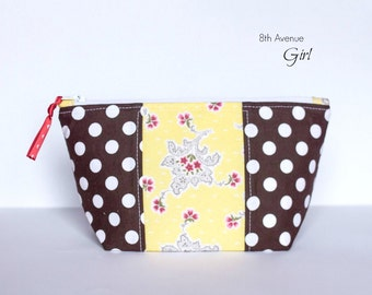 Zipper pouch, cosmetic bag, makeup bag, brown and yellow fabric zipper bag