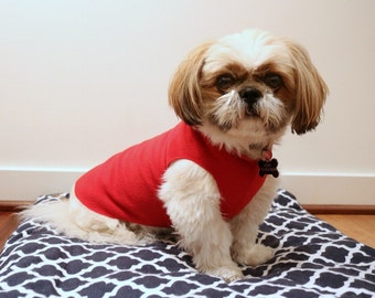 Microfleece dog sweater - red
