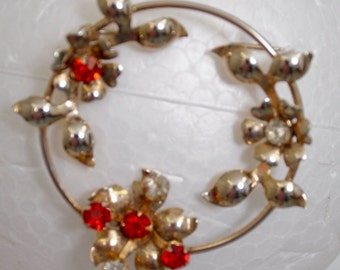 "Vintage Brooch 2"" x 2"", Signed Sterling, weight 10.3gr. with beautiful stones. Vermeil gold wash over sterling."