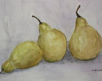 Original Watercolor Three Green Pears FREE SHIPPING