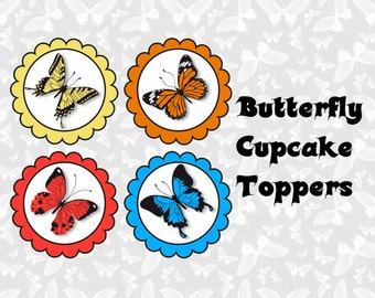 Realistic Butterfly Cupcake Toppers- INSTANT DOWNLOAD!!
